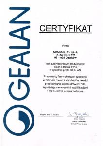 CERTYFIKAT GEALAN